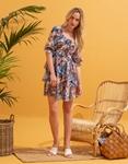 Εικόνα από Γυναικείο φόρεμα floral με βολάν Μπλε