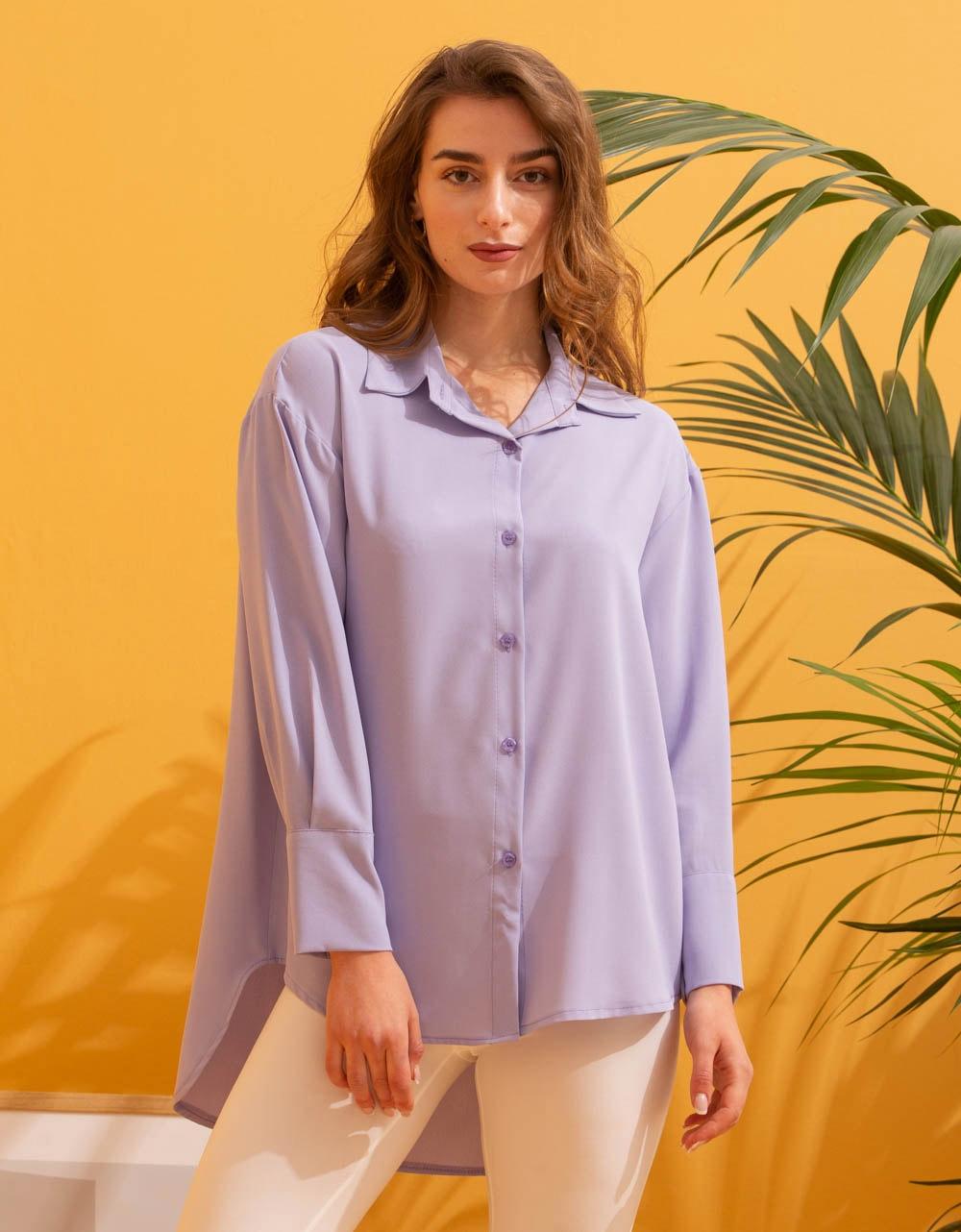 Εικόνα από Γυναικείο πουκάμισο ασύμμετρο Λιλά