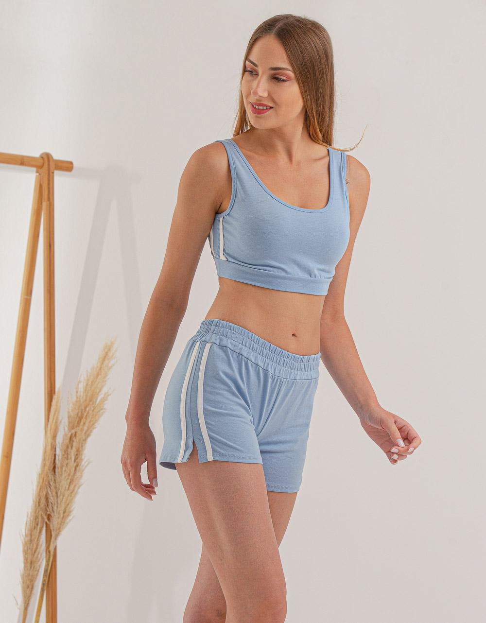 Εικόνα από Γυναικείο σετ activewear σόρτς & crop top Σιέλ