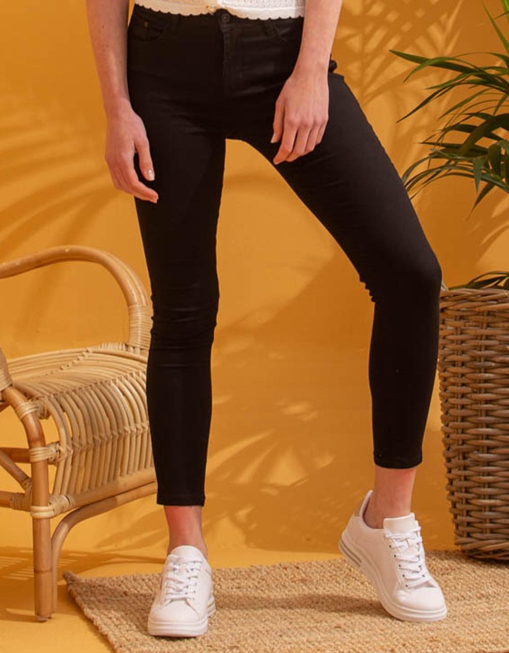 Εικόνα από Γυναικείο παντελόνι skinny ψηλόμεσο Μαύρο