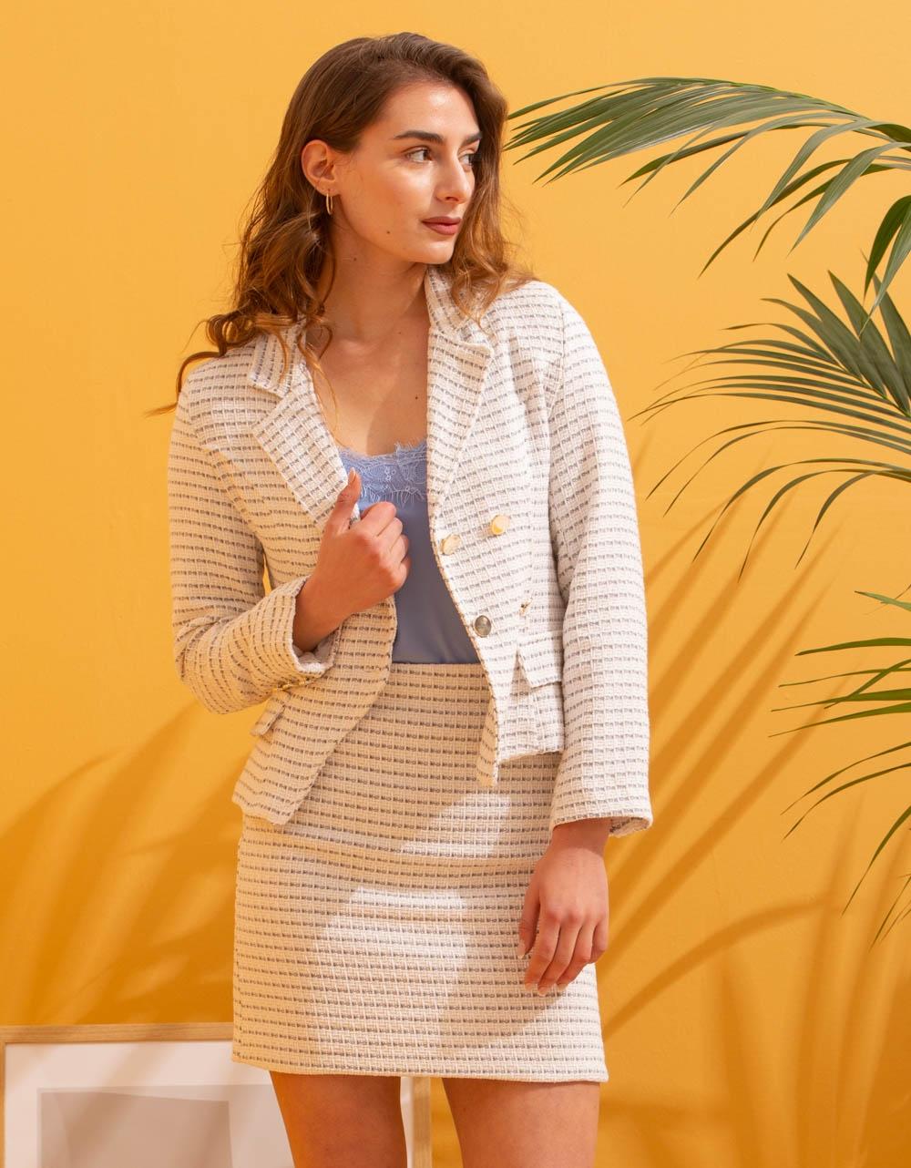 Εικόνα από Γυναικείο σετ φούστα & σακάκι με σχέδιο Λευκό