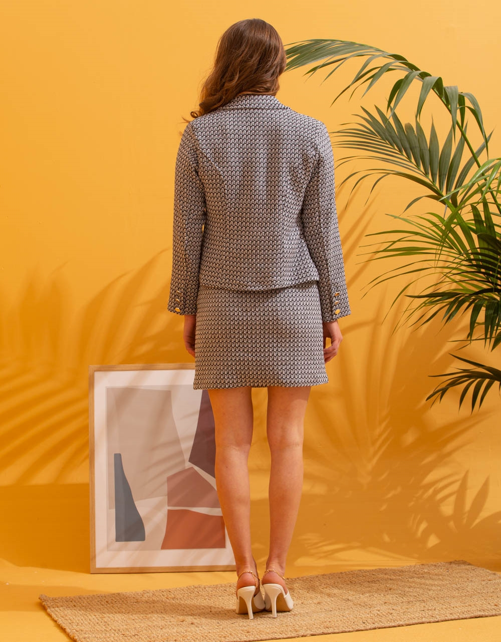 Εικόνα από Γυναικείο σετ φούστα & σακάκι με σχέδιο Μαύρο