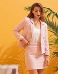 Εικόνα από Γυναικείο σετ φούστα & σακάκι με σχέδιο Ροζ