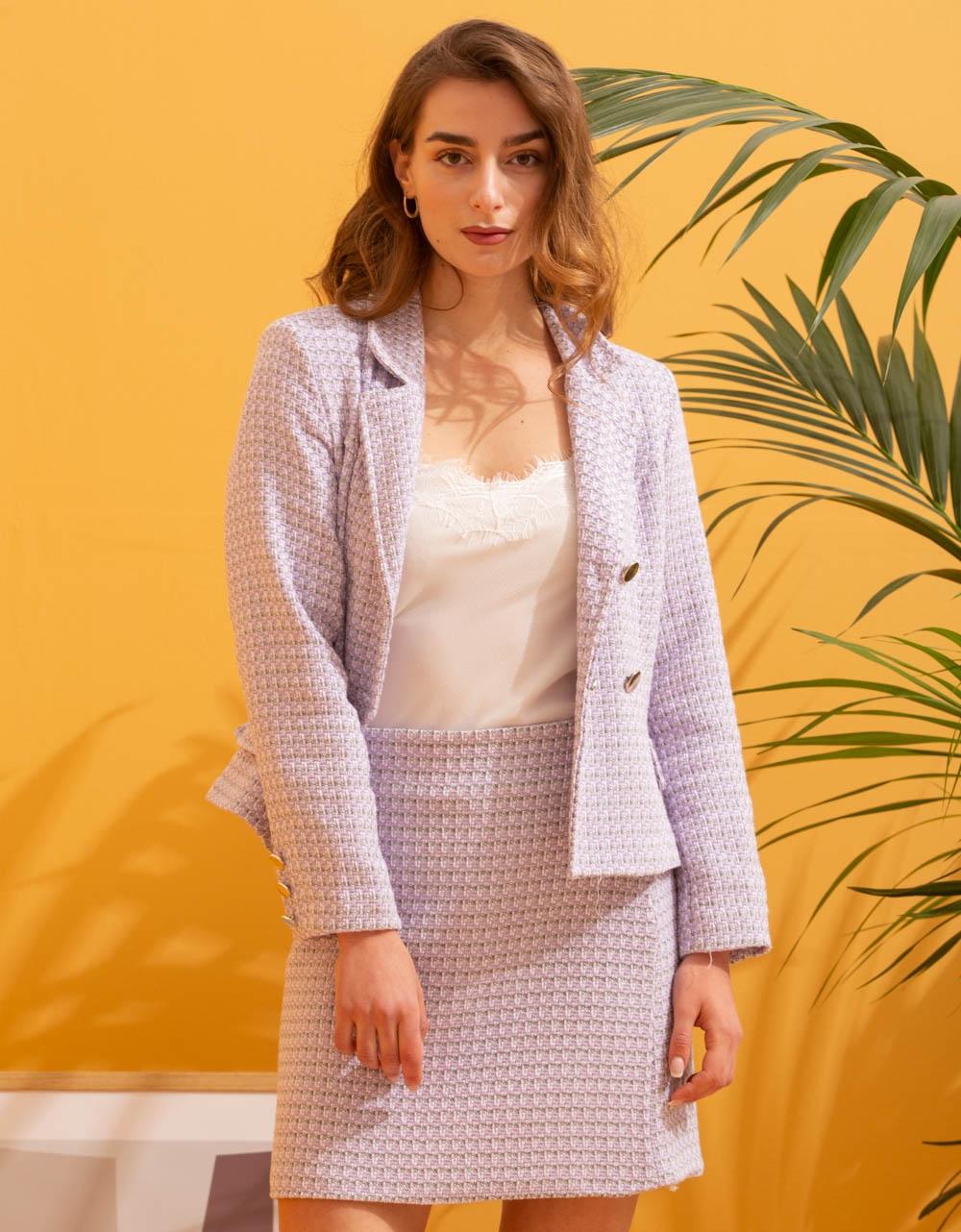 Εικόνα από Γυναικείο σετ φούστα & σακάκι με σχέδιο Λιλά