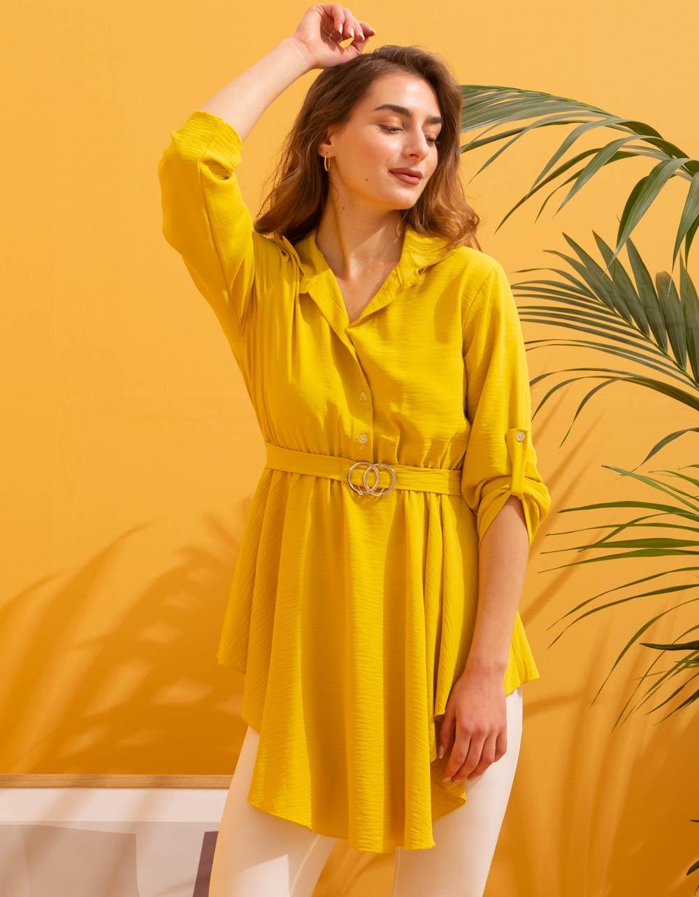 Εικόνα από Γυναικεία μπλούζα ασύμμετρη Κίτρινο