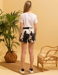 Εικόνα από Γυναικείο σορτς φούτερ tie dye Μαύρο/Λευκό