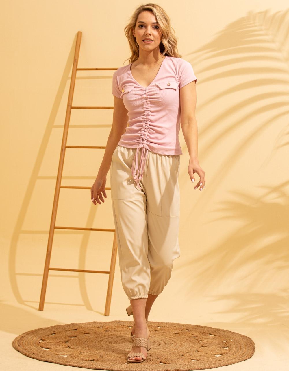 Εικόνα από Γυναικεία μπλούζα με σούρα Ροζ