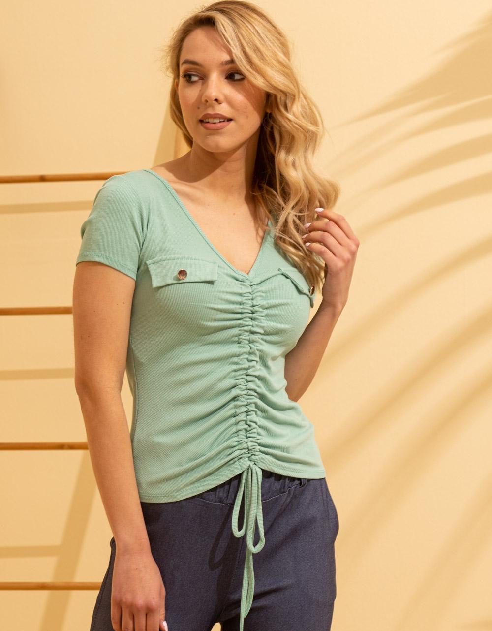 Εικόνα από Γυναικεία μπλούζα με σούρα Πράσινο