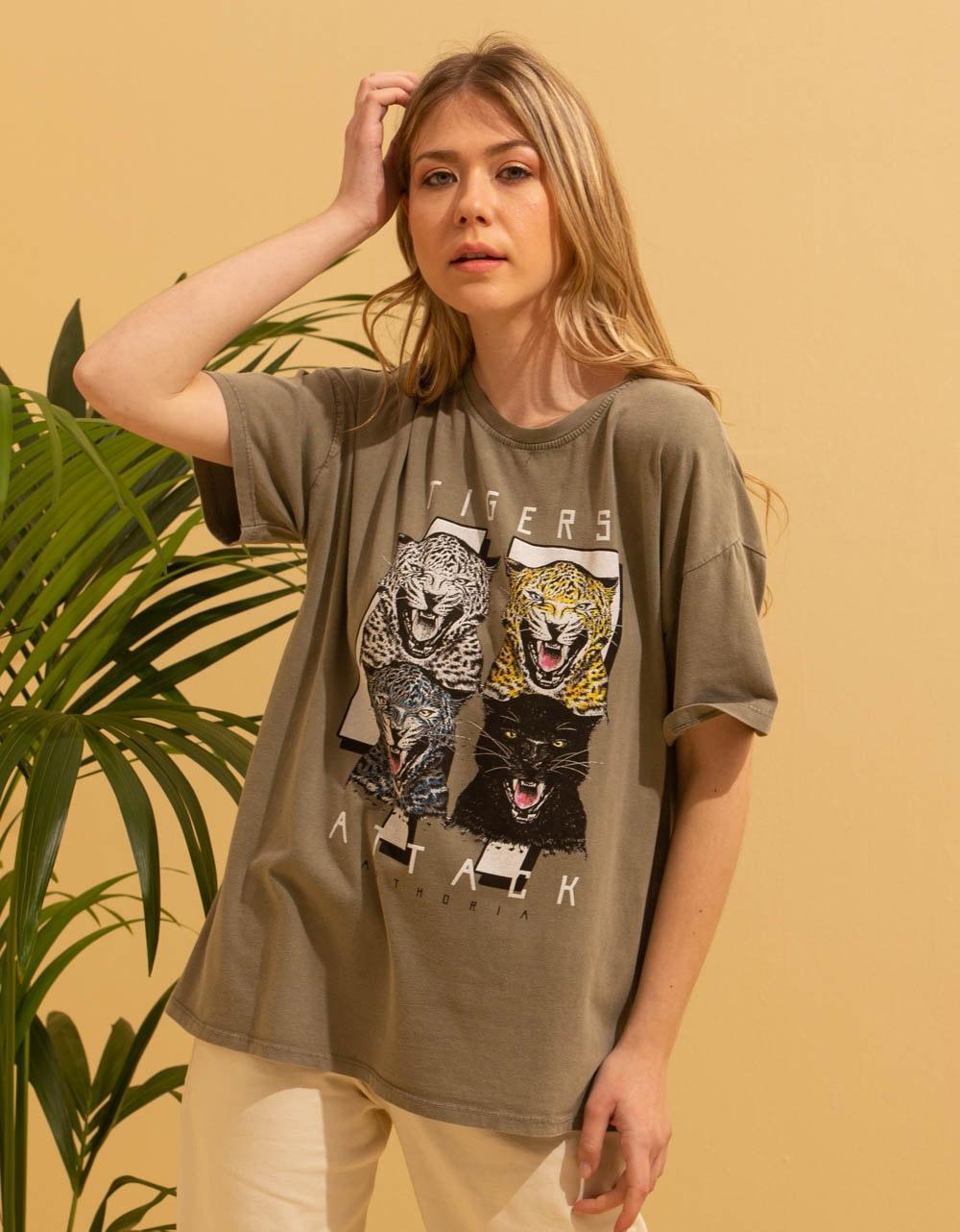 Εικόνα από Γυναικεία μπλούζα με στάμπα Χακί