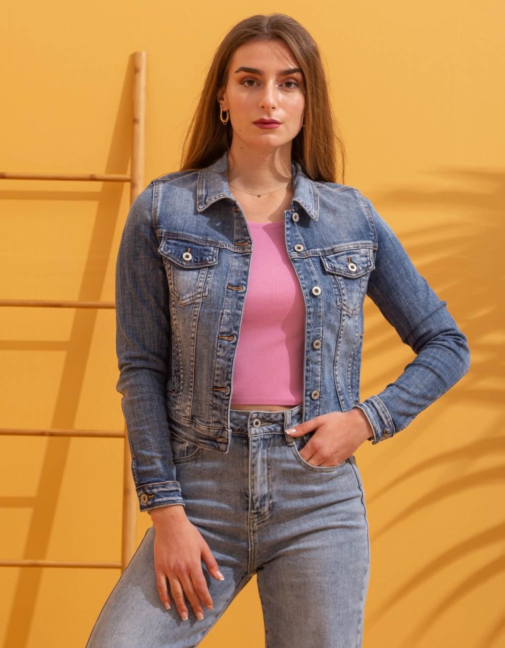 Εικόνα από Γυναικείο jacket σε απλή γραμμή Τζιν
