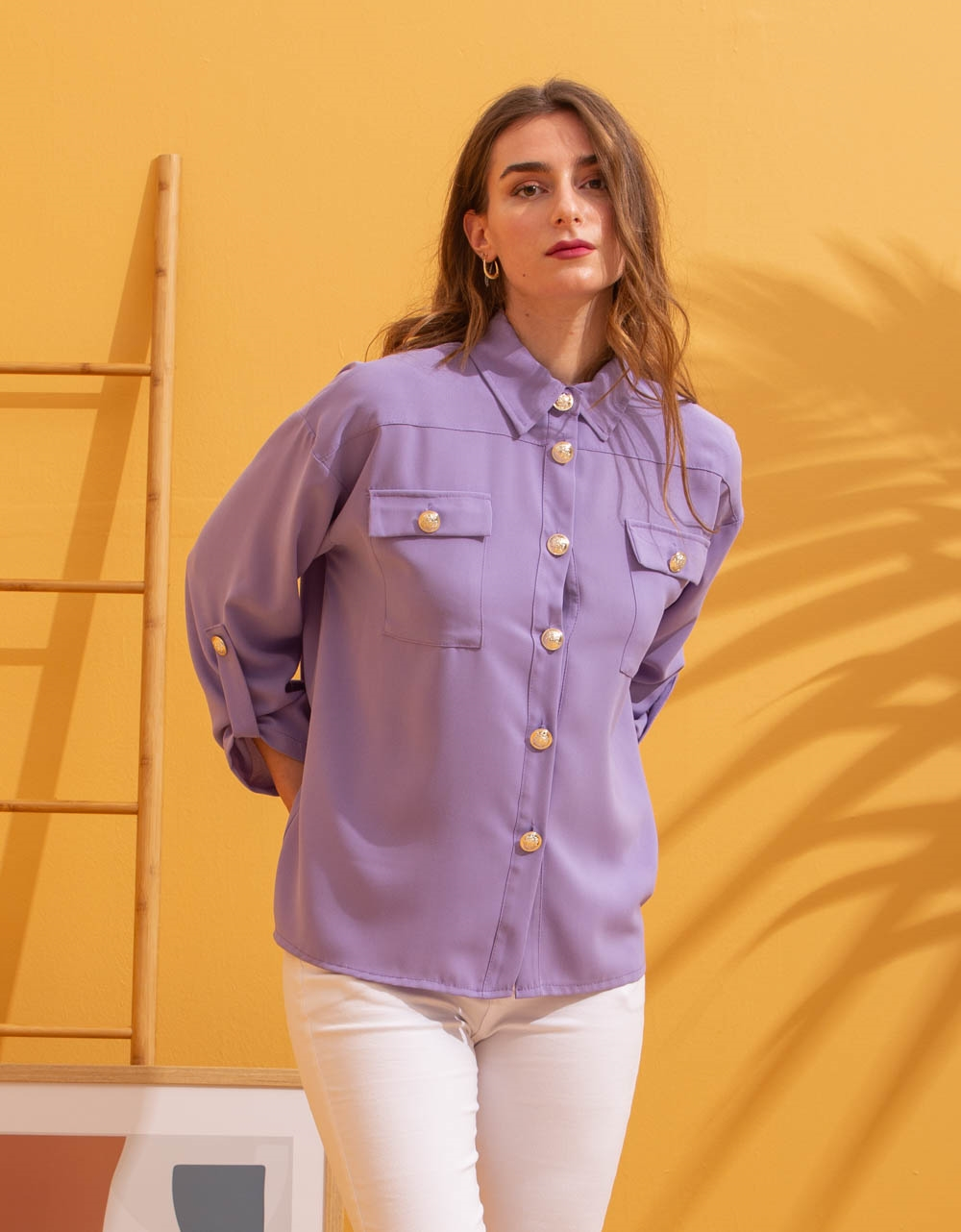 Εικόνα από Γυναικείο πουκάμισο με κουμπιά Μωβ