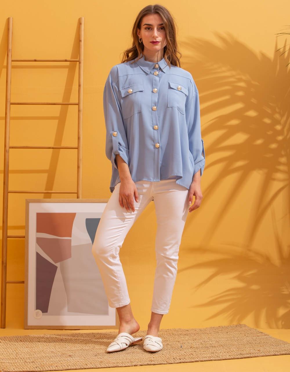 Εικόνα από Γυναικείο πουκάμισο με κουμπιά Σιέλ