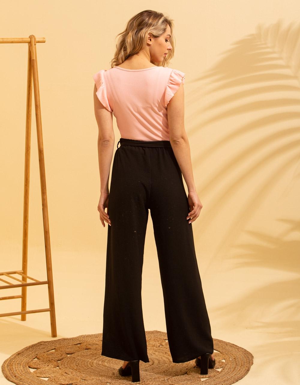 Εικόνα από Γυναικεία μπλούζα με βολάν στο μανίκι Ροζ