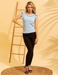 Εικόνα από Γυναικεία μπλούζα με βολάν στο μανίκι Σιέλ