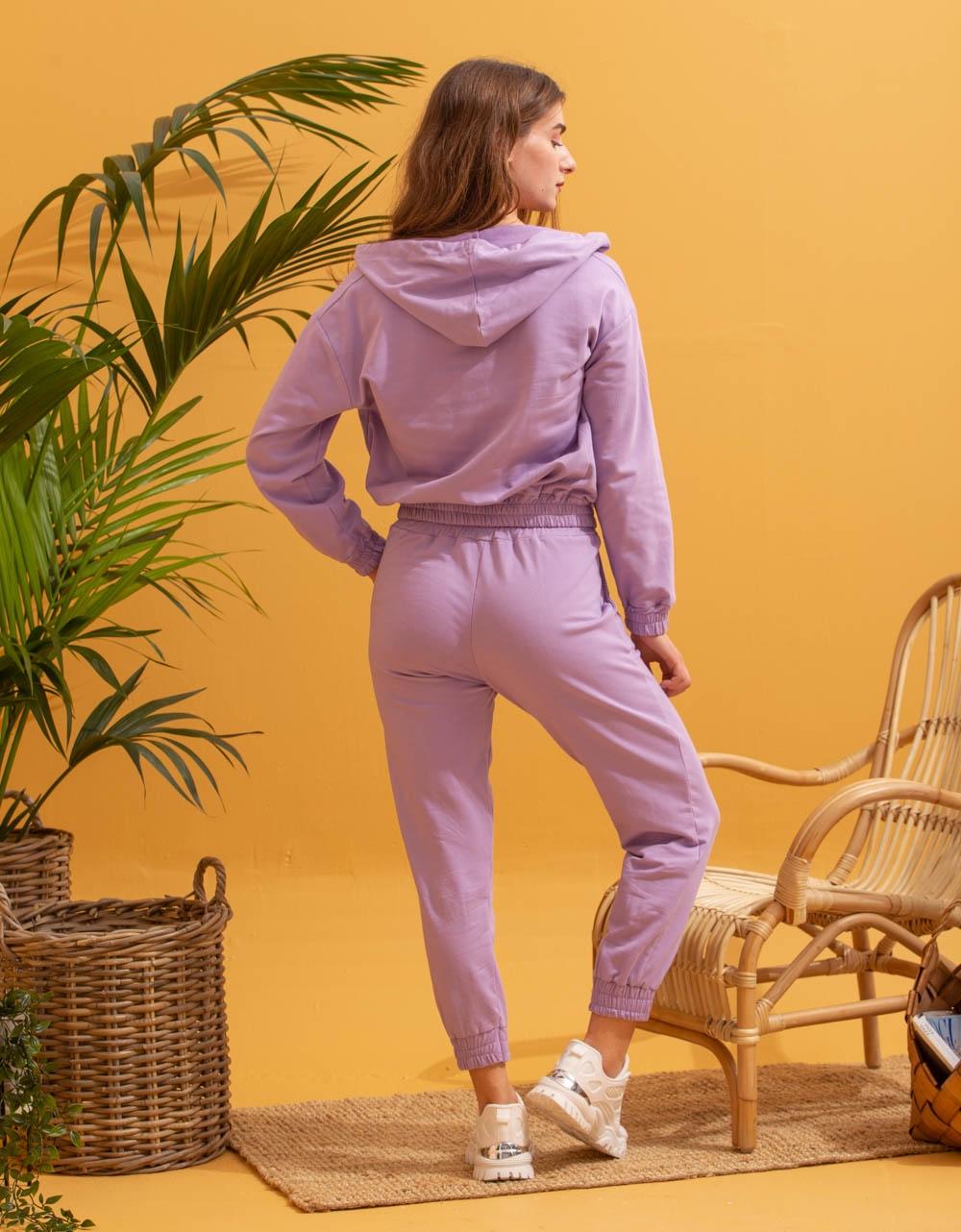 Εικόνα από Γυναικεία σετ ρούχων παντελόνι & μπλουζάκι Λιλά