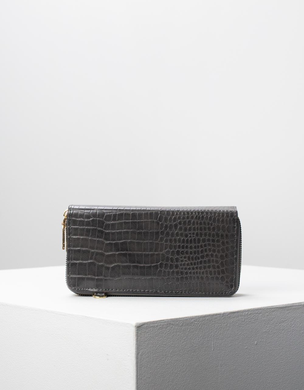 Εικόνα από Γυναικεία πορτοφόλια με κροκό σχέδιο Γκρι