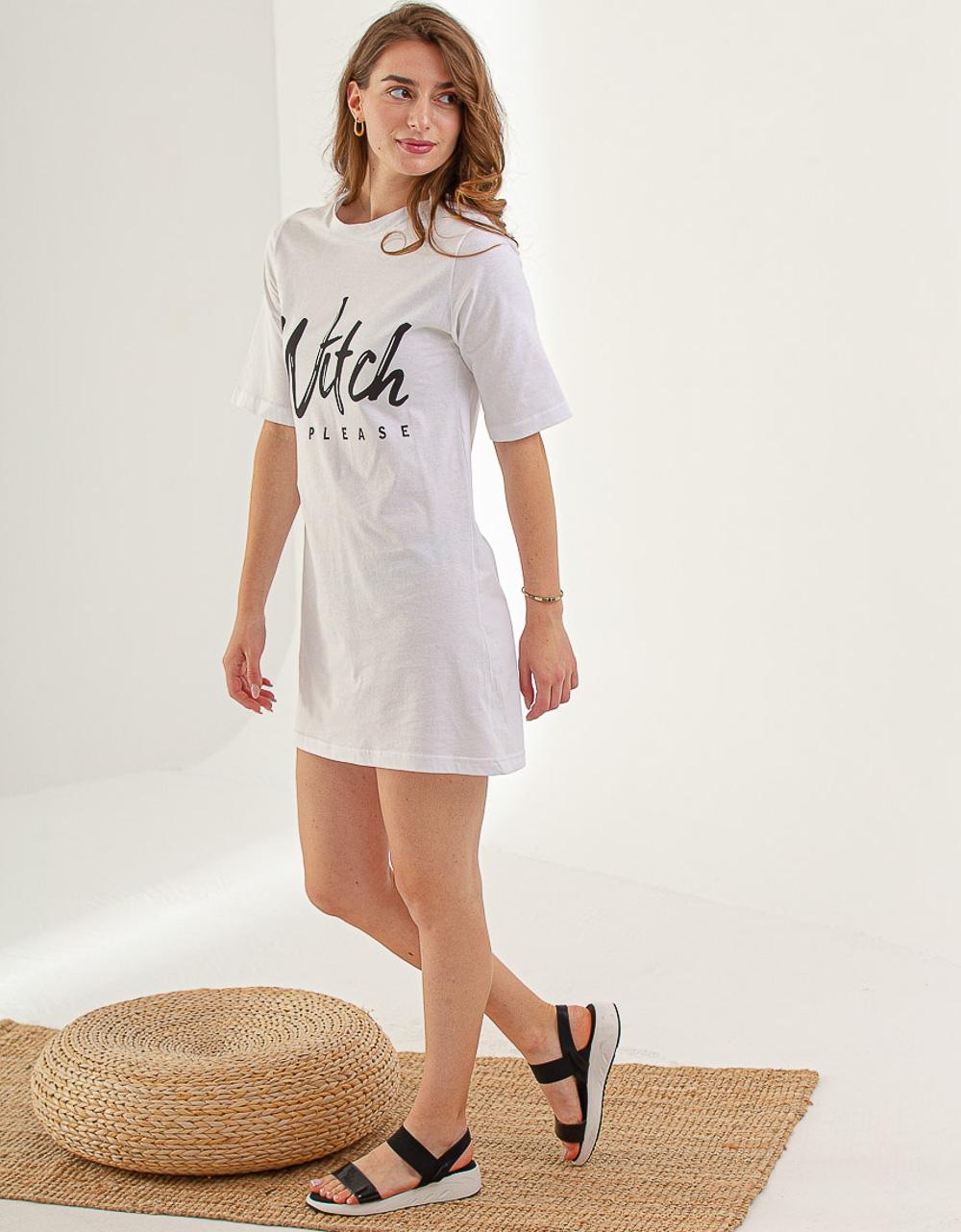 Εικόνα από Γυναικεία μπλούζα oversized με τύπωμα Λευκό