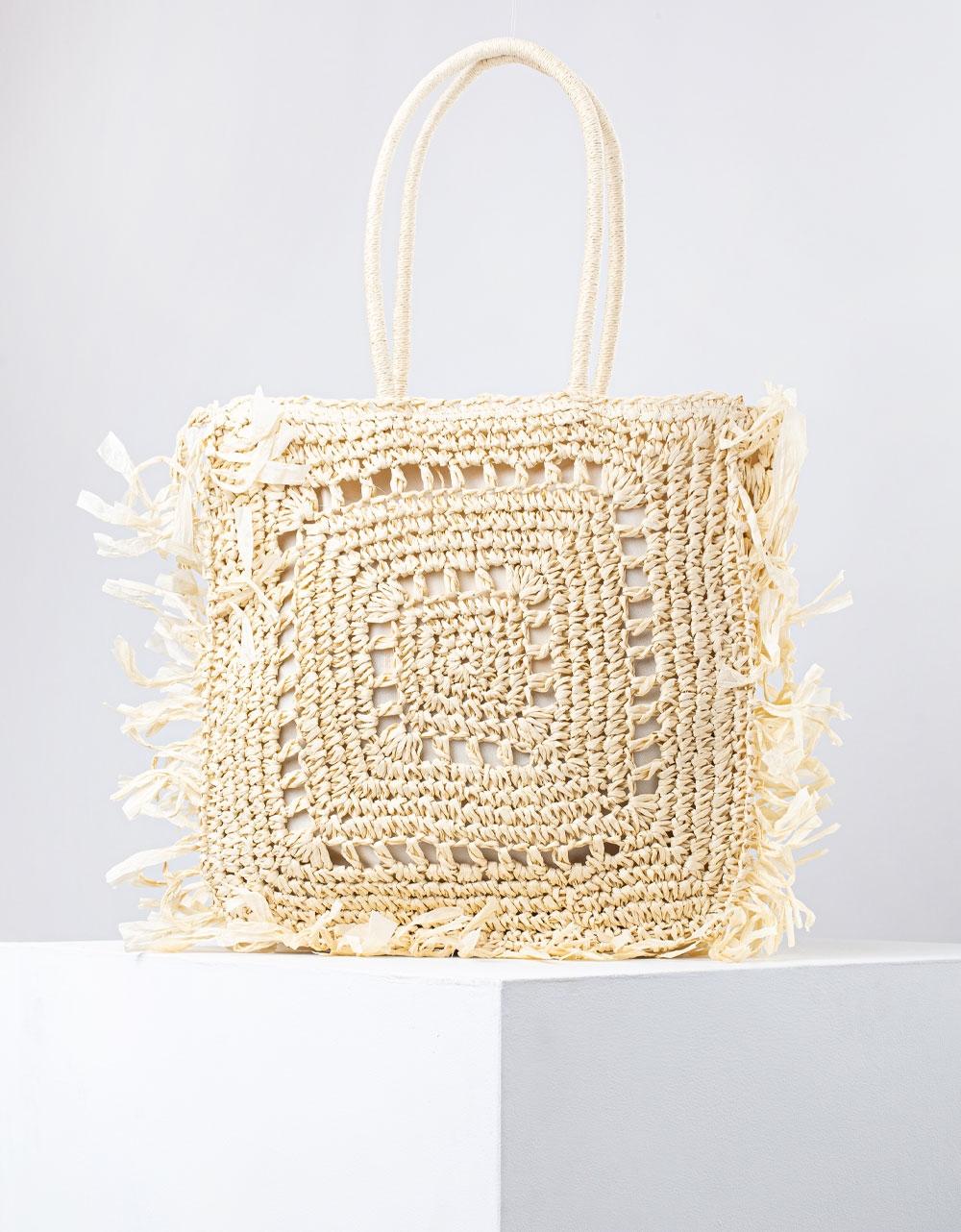 Εικόνα από Γυναικεία τσάντα χειρός ψάθινη με κρόσια Μπεζ