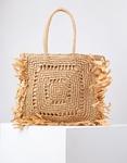 Εικόνα από Γυναικεία τσάντα χειρός ψάθινη με κρόσια Πούρο