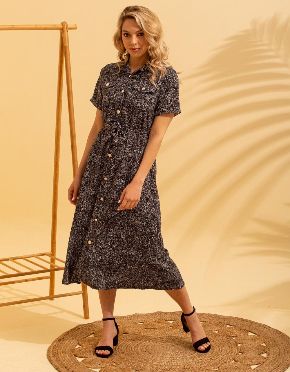 Εικόνα από Γυναικείο φόρεμα σεμιζιέ μακρύ Μαύρο