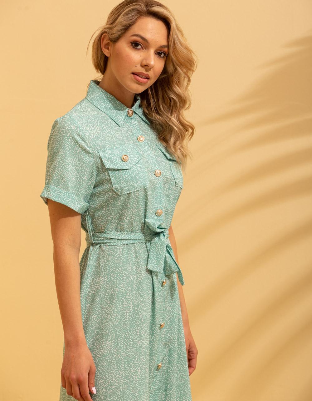 Εικόνα από Γυναικείο φόρεμα σεμιζιέ μακρύ Πράσινο