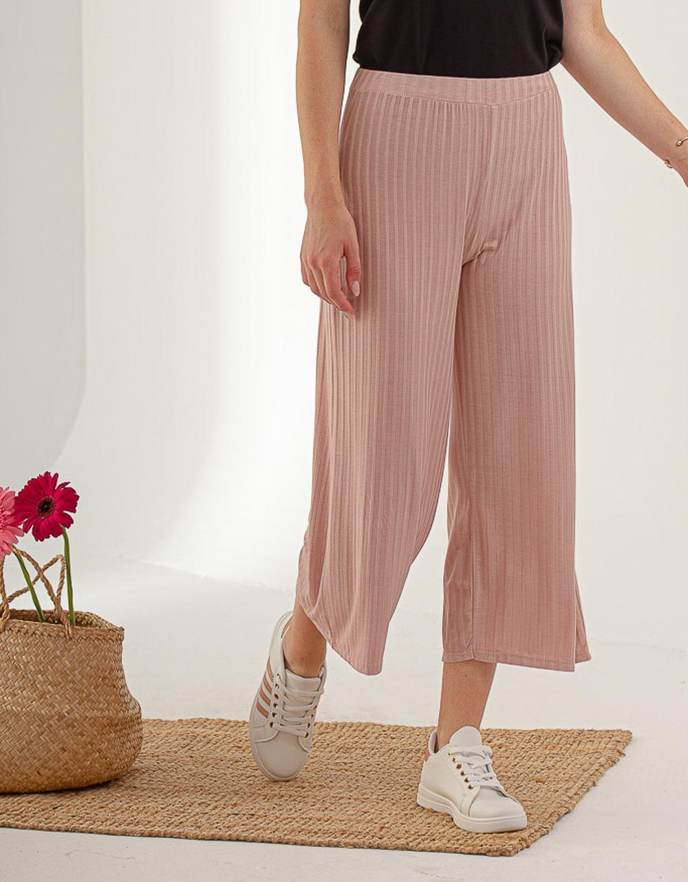 Εικόνα από Γυναικείο ριπ παντελόνι ζιπ κιλότ Ροζ