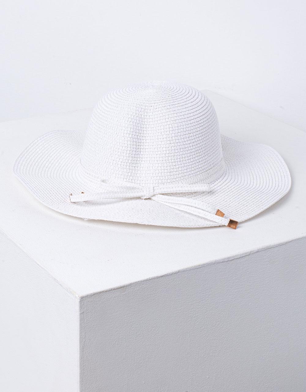 Εικόνα από Γυναικείο καπέλο ψάθινο με κορδόνι Λευκό