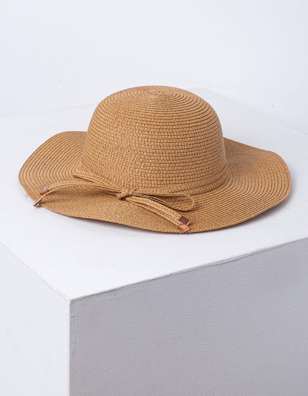 Εικόνα από Γυναικείο καπέλο ψάθινο με κορδόνι Πούρο