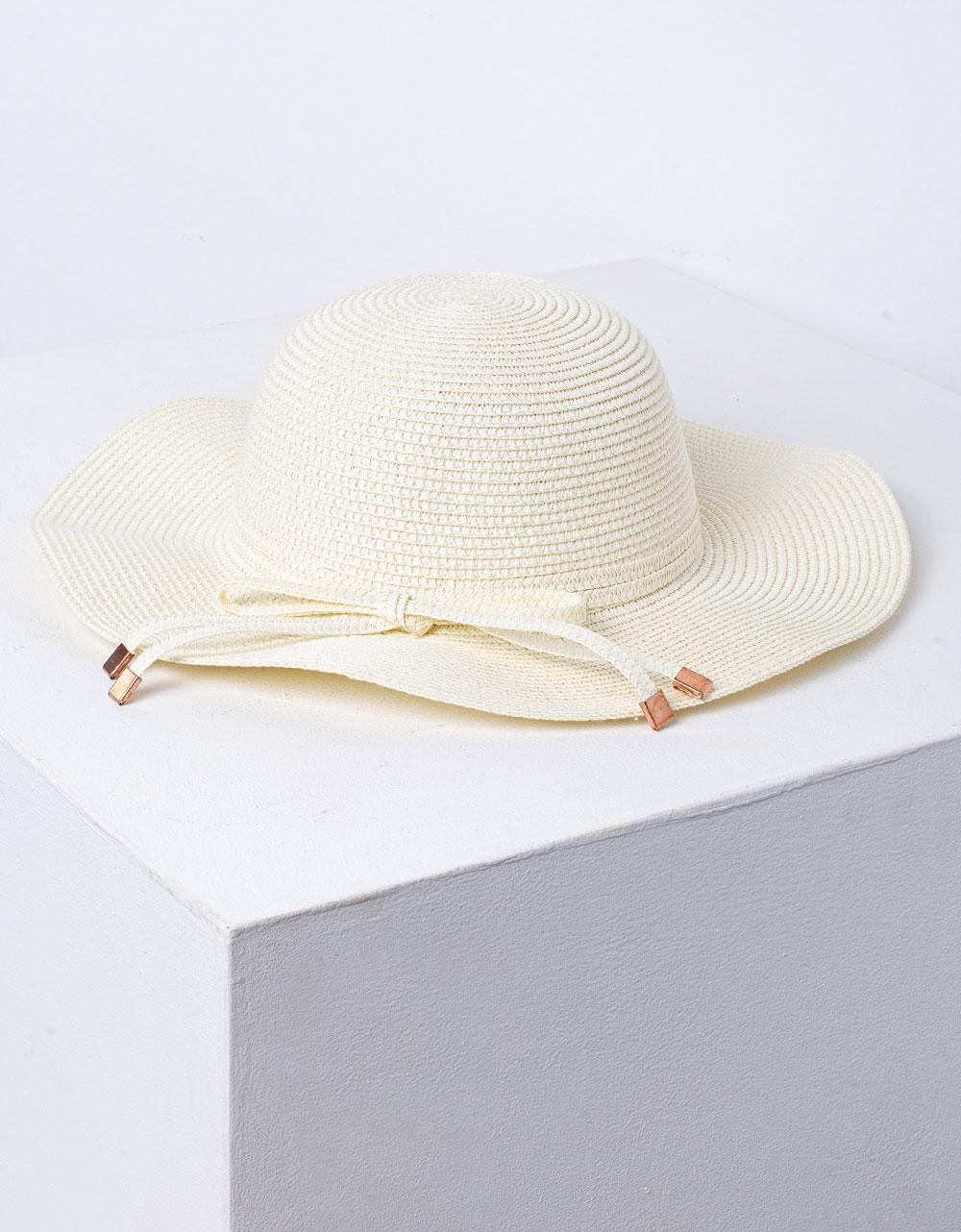 Εικόνα από Γυναικείο καπέλο ψάθινο με κορδόνι Φυσικό