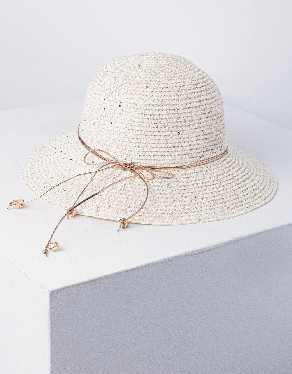 Εικόνα από Γυναικείο καπέλο ψάθινο με διακοσμητικές πέρλες στο κορδόνι Λευκό