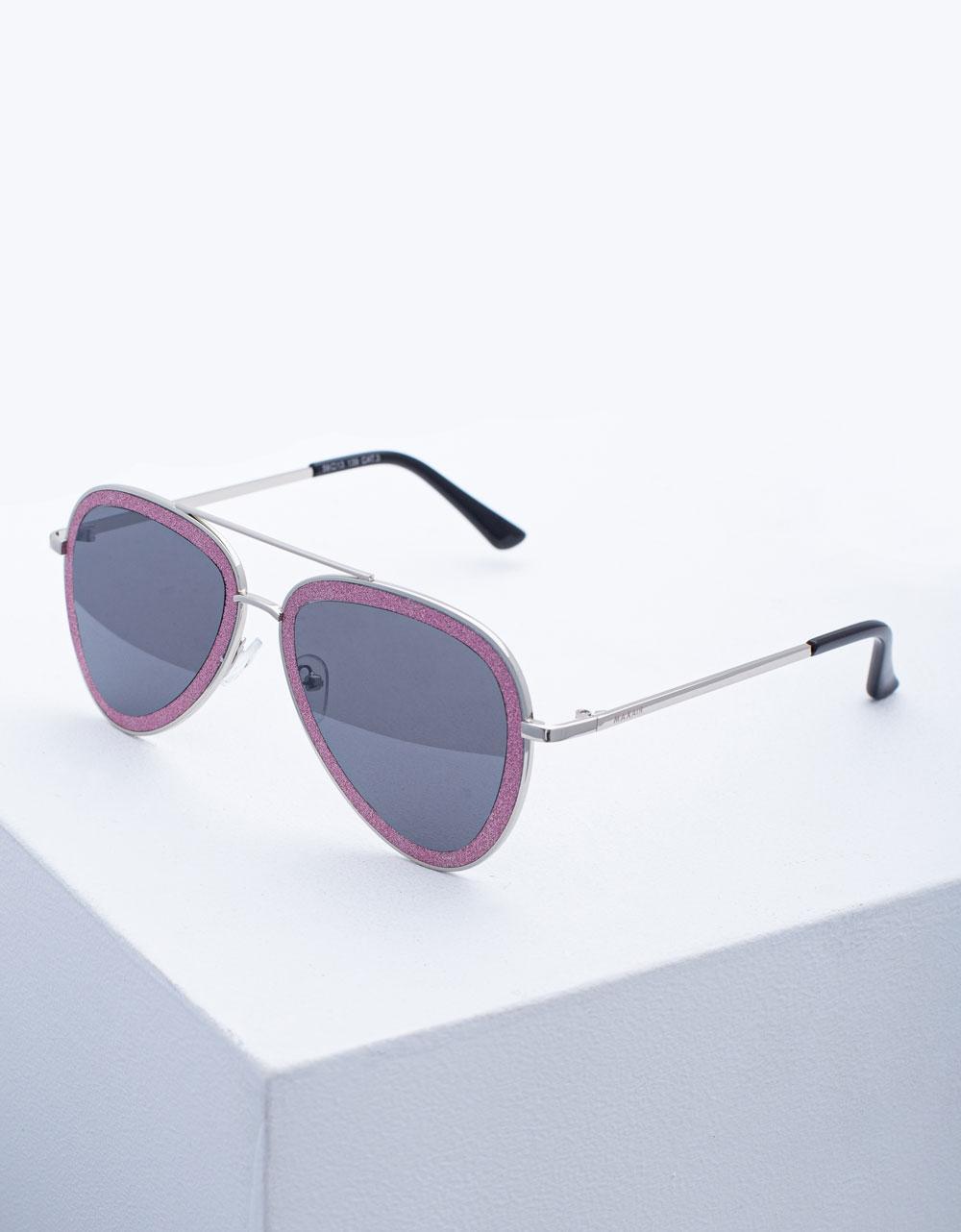 Εικόνα από Γυναικεία γυαλιά ηλίου με λεπτό σκελετό Ροζ