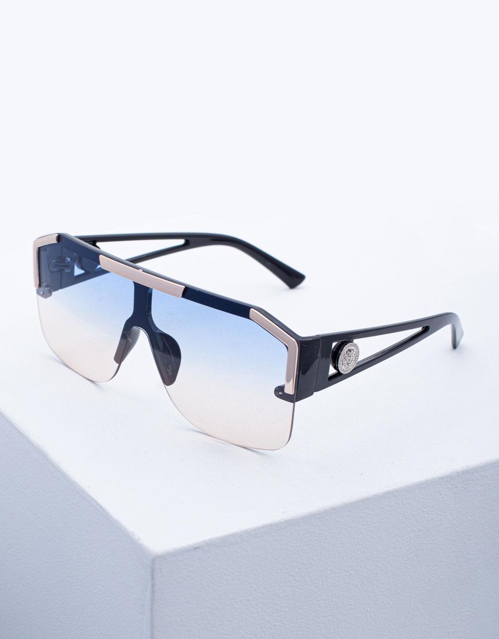 Εικόνα από Γυναικεία γυαλιά ηλίου oversized με χρωματιστούς φακούς Σιέλ