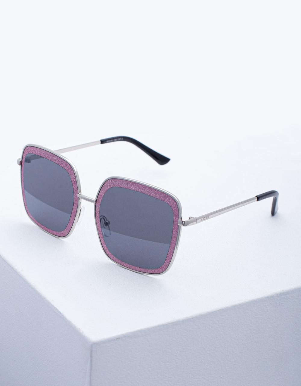 Εικόνα από Γυναικεία γυαλιά ηλίου oversized με τετράγωνο σχήμα Ροζ