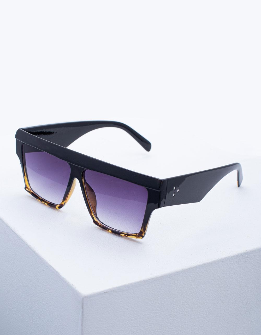 Εικόνα από Γυναικεία γυαλιά ηλίου σε τετράγωνο σχήμα Μαύρο/Καφέ