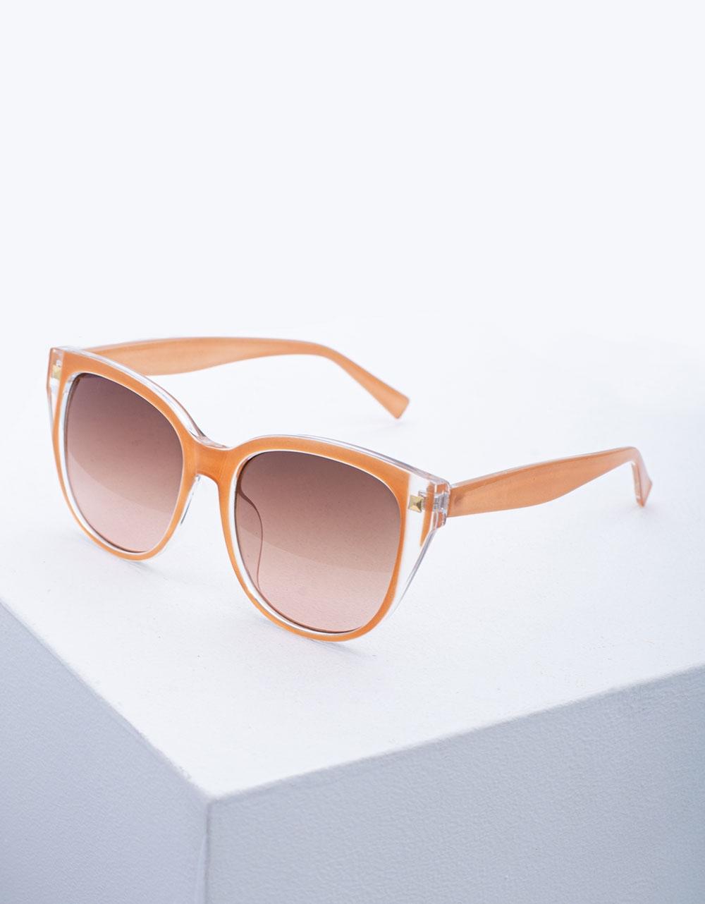Εικόνα από Γυναικεία γυαλιά ηλίου σε στρογγυλό σχήμα Σομόν
