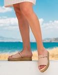 Εικόνα από Γυναικεία σανδάλια από γνήσιο δέρμα με φάσα και κοτσιδάκι Nude