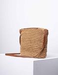 Εικόνα από Γυναικεία τσάντα ώμου & χιαστί ψάθινη με διακοσμητικό φουντάκι Πούρο