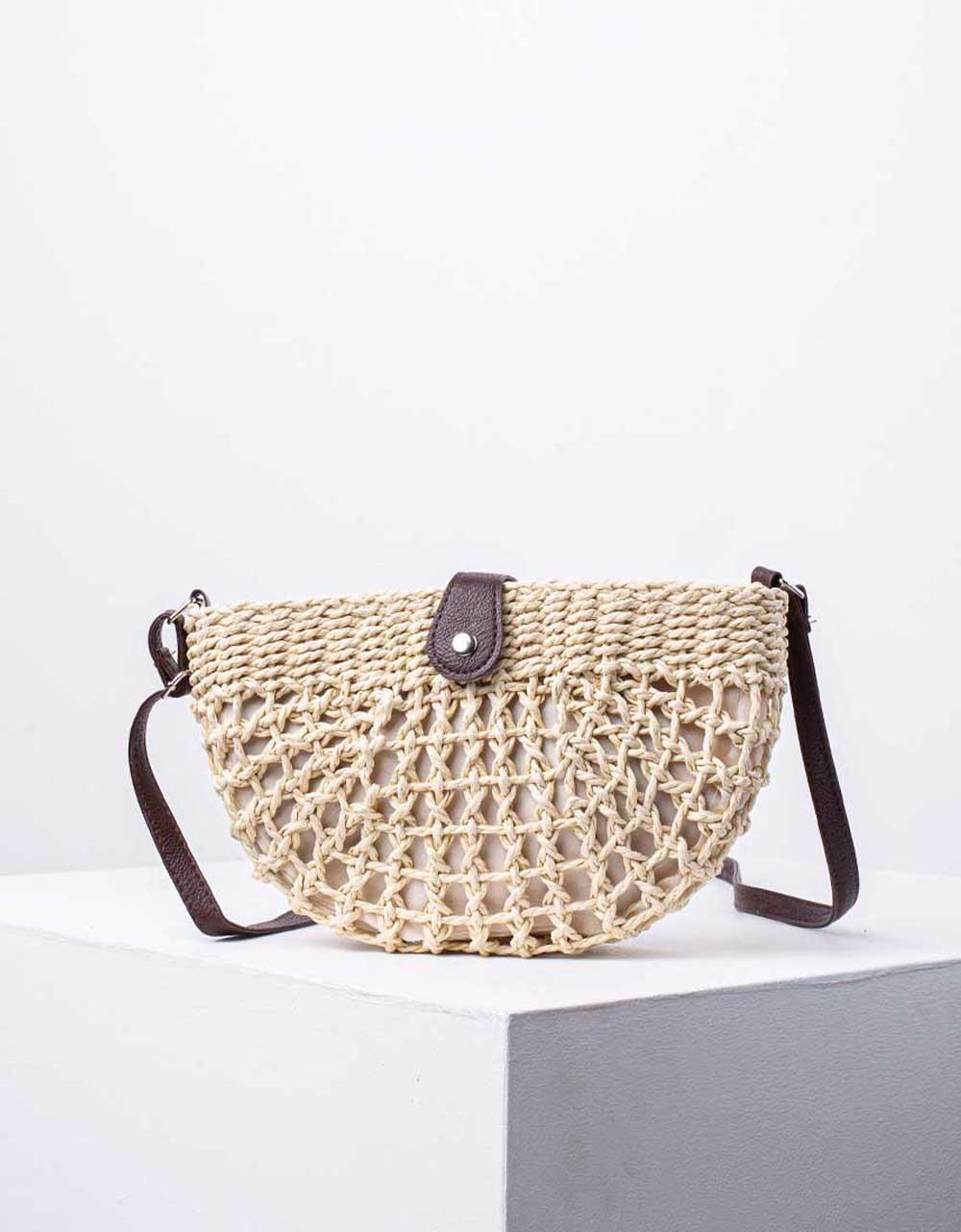 Εικόνα από Γυναικεία τσάντα ώμου & χιαστί με πλεκτό σχέδιο Μπεζ