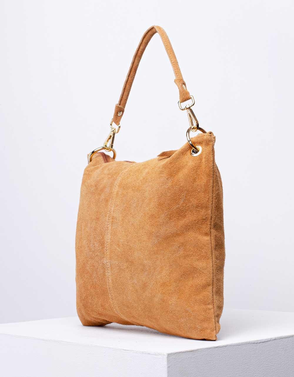 Εικόνα από Γυναικεία τσάντα χειρός από γνήσιο δέρμα με εξωτερικό τσεπάκι Κάμελ