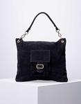 Εικόνα από Γυναικεία τσάντα χειρός από γνήσιο δέρμα με εξωτερικό τσεπάκι Μαύρο