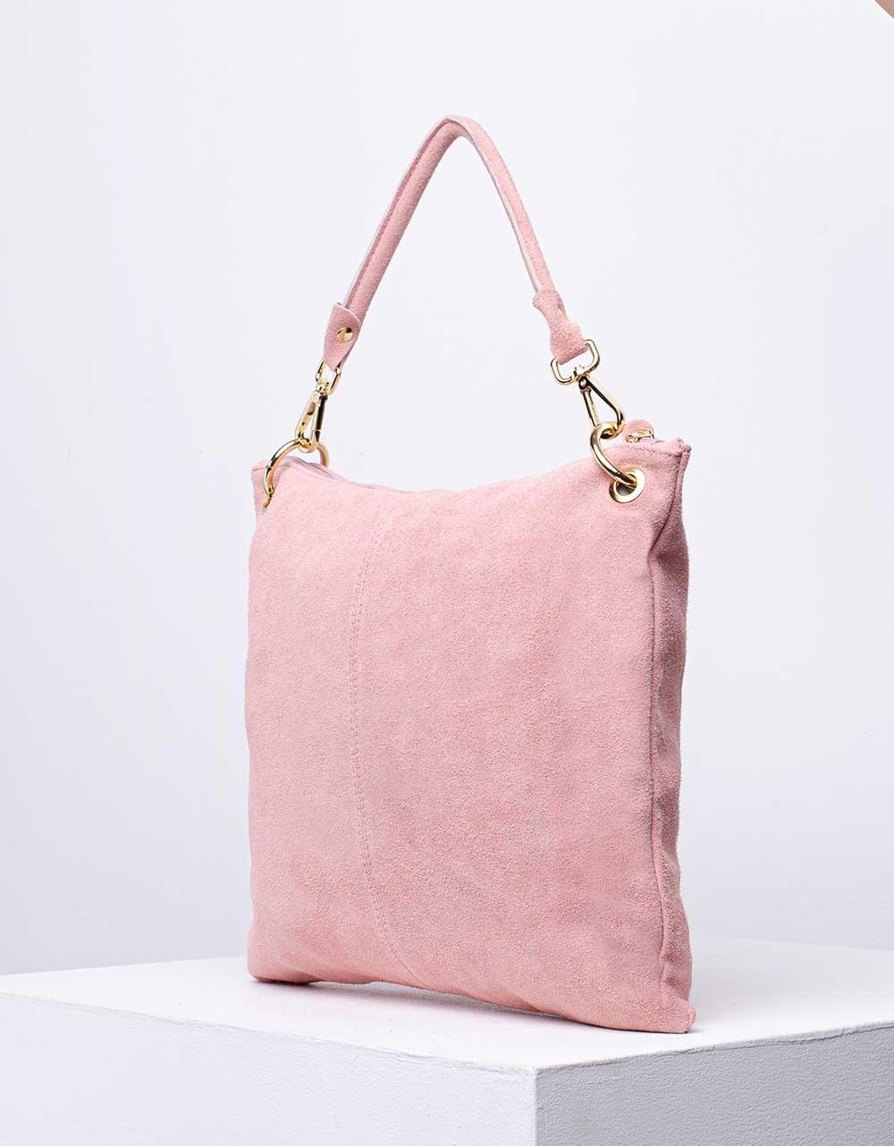 Εικόνα από Γυναικεία τσάντα χειρός από γνήσιο δέρμα με εξωτερικό τσεπάκι Ροζ