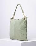 Εικόνα από Γυναικεία τσάντα χειρός από γνήσιο δέρμα με εξωτερικό τσεπάκι Λαδί