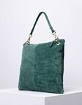 Εικόνα από Γυναικεία τσάντα χειρός από γνήσιο δέρμα με εξωτερικό τσεπάκι Πράσινο