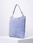 Εικόνα από Γυναικεία τσάντα χειρός από γνήσιο δέρμα με εξωτερικό τσεπάκι Σιέλ