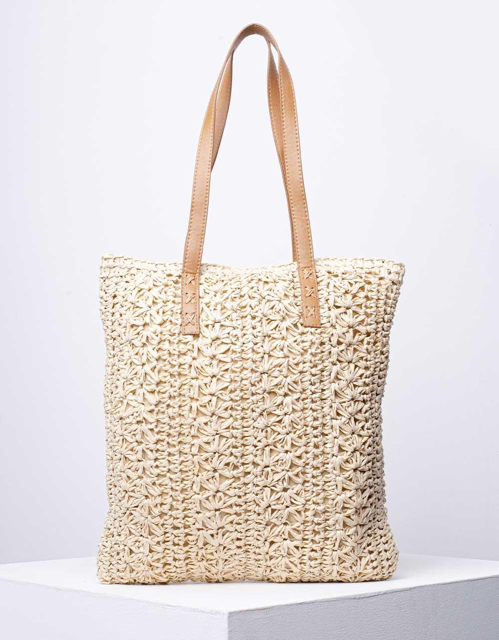Εικόνα από Γυναικεία τσάντα ώμου & χιαστί ψάθινη Μπεζ