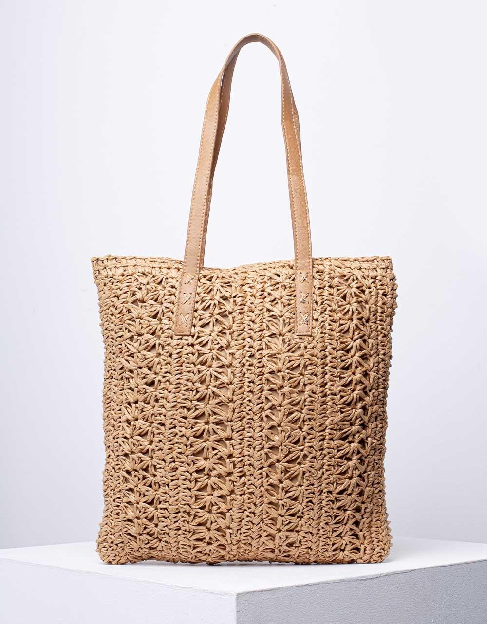 Εικόνα από Γυναικεία τσάντα ώμου & χιαστί ψάθινη Πούρο