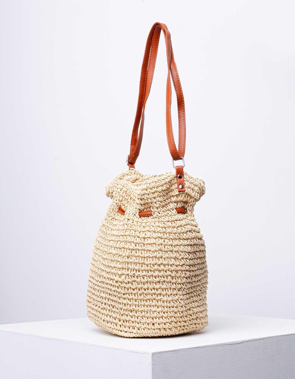Εικόνα από Γυναικεία ώμου & χιαστί τσάντα πουγκί ψάθινη Μπεζ