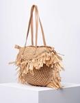 Εικόνα από Γυναικεία τσάντα ώμου ψάθινη με κρόσια Πούρο