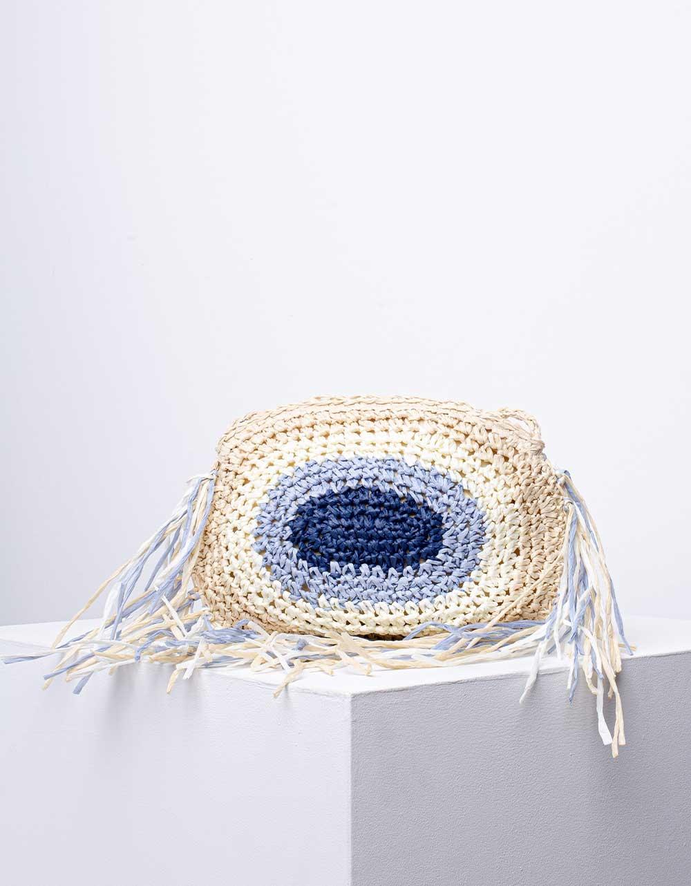 Εικόνα από Γυναικεία τσάντα μάτι ώμου & χιαστί με κρόσια Μπεζ