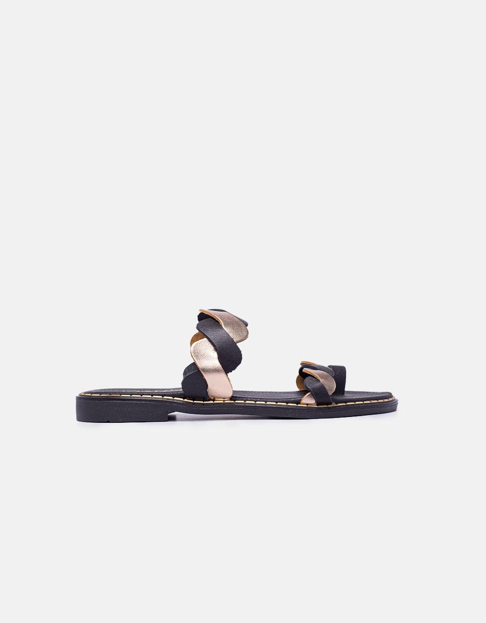 Εικόνα από Γυναικεία σανδάλια από γνήσιο δέρμα σε συνδυασμό χρωμάτων Μαύρο